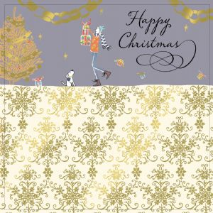 Christmas Presents with Christmas Tree, Gold Foiling, Contemporary Design and Red Envelope KIS12